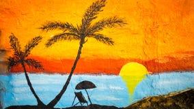 Solnedgång på en strandmålning royaltyfri bild