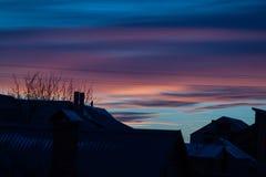 Solnedgång på en vinterafton Royaltyfria Foton