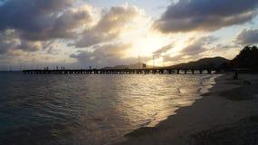Solnedgång på Esperanza Beach, Vieques, Puerto Ric Royaltyfri Foto