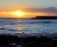 Solnedgång på ett hav Royaltyfri Fotografi