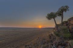 Solnedgång på Ezemvelo NR Royaltyfria Bilder