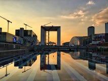 Solnedgång på försvar, Paris, Frankrike Fotografering för Bildbyråer