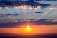 Solnedgång på fanen för penna Y Arkivfoton