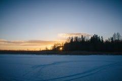 Solnedgång på Februari 14, 2017 Royaltyfria Bilder