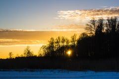 Solnedgång på Februari 14, 2017 Royaltyfri Foto