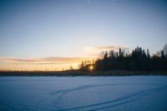 Solnedgång på Februari 14, 2017 Royaltyfri Fotografi