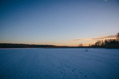 Solnedgång på Februari 14, 2017 Arkivbilder