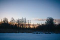 Solnedgång på Februari 14, 2017 Arkivfoton