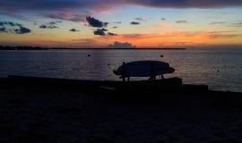 Solnedgång på fjärden med kanoter och kajaker som konturer i sommar fotografering för bildbyråer