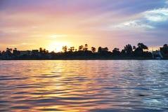 Solnedgång på floden, Nilen, Egypten arkivfoton