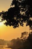 Solnedgång på flodstranden Arkivfoton
