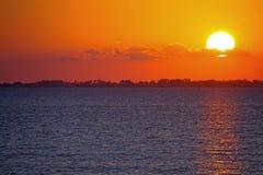 Solnedgång på fortet Myers Beach Arkivfoto
