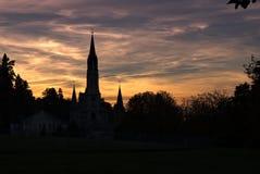 Solnedgång på fristad av Lourdes Arkivbild