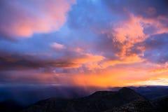 Solnedgång på Front Range Arkivbilder