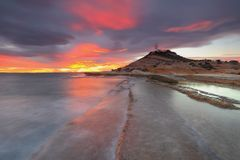Solnedgång på fyren Alicante Fotografering för Bildbyråer