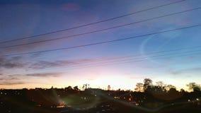 Solnedgång på gramas Arkivfoto