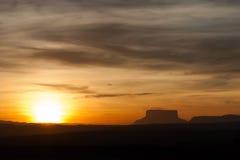 Solnedgång på Gran Sabana Fotografering för Bildbyråer