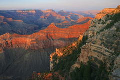 Solnedgång på Grand Canyon, Arizona arkivbild