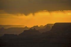Solnedgång på Grand Canyon som ses från Royaltyfri Fotografi
