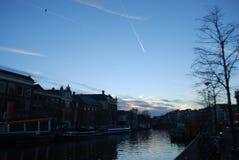Solnedgång på Haarlem Arkivbilder