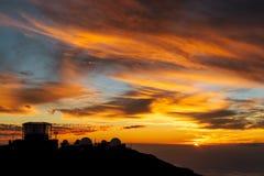 Solnedgång på Haleakala Arkivbild