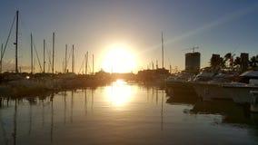 Solnedgång på hamnen Royaltyfri Fotografi