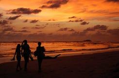 Solnedgång på hav arkivfoto