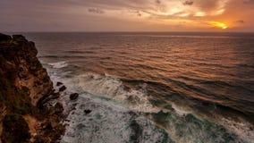 Solnedgång på hav Arkivbild