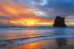Solnedgång på hav Arkivbilder