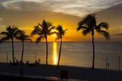 Solnedgång på hav Arkivfoton