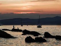 Solnedgång på havet Arkivbild