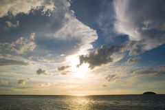 Solnedgång på havet Fotografering för Bildbyråer