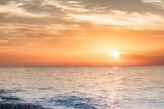 Solnedgång på havet Arkivfoto