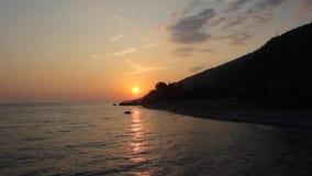 Solnedgång på havet stock video
