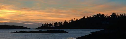 Solnedgång på havet - Skottland Royaltyfria Foton