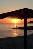 Solnedgång på havskusten Royaltyfri Bild