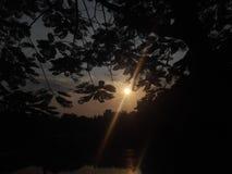 Solnedgång på himmel Royaltyfria Bilder