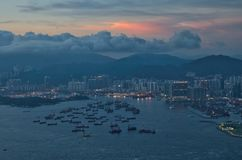Solnedgång på Hong Kong Royaltyfri Bild