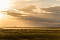 Solnedgång på horisonten Royaltyfri Foto