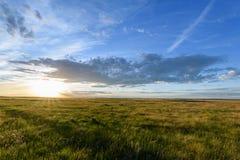 Solnedgång på horisonten Arkivfoto
