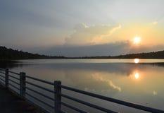 Solnedgång på Huaysangkeab Arkivfoto
