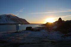 Solnedgång på Island Arkivfoto