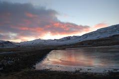 Solnedgång på Island Royaltyfri Bild