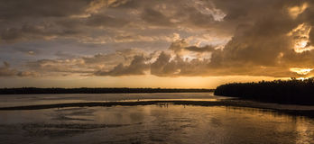 Solnedgång på J n Ding Darling National Wildlife Refuge Sanibe Arkivfoton