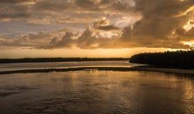 Solnedgång på J n Ding Darling National Wildlife Refuge Sanibe Royaltyfria Foton