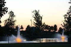 Solnedgång på Julius M Kleiner Memorial Park Arkivfoton