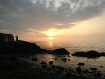 Solnedgång på Kaoleamya, Chonburi, Thailand Royaltyfri Fotografi
