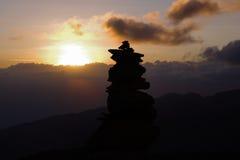 Solnedgång på Kilimanjaro Arkivbilder