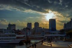 Solnedgång på Kobe royaltyfri fotografi