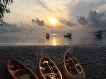 Solnedgång på Koh RONG Royaltyfria Foton